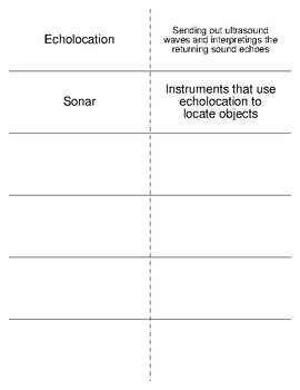 Sound Vocabulary Flash Cards for Physical Science