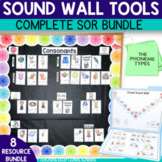Sound Wall Bundle with Picture Word Cards on White Shiplap