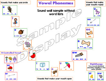 Sound Wall - Vowels, Digraphs, and Diphthongs - for replacing the Word Wall