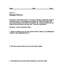 Sound Waves: Worksheet and Lab w/ Answer Key (Fun Learning Activity)