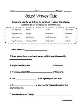 sound waves quiz by cloey holzman teachers pay teachers. Black Bedroom Furniture Sets. Home Design Ideas