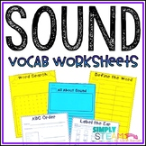 Sound Energy Vocabulary Worksheets