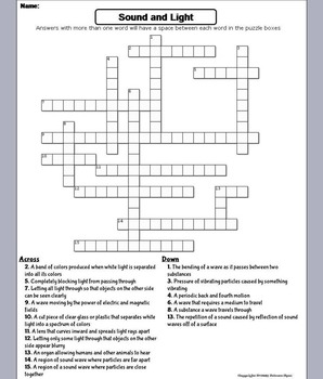 Sound and Light Waves Worksheet/ Crossword Puzzle