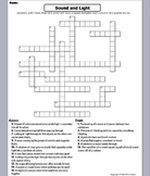 Properties of Sound and Light Waves Worksheet/ Crossword Puzzle