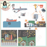 Sound and Light Pollution Sources Clip Art