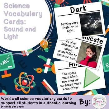 Sound and Light Science Vocabulary Cards