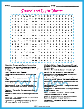 sound and light waves word search puzzle by puzzles to print tpt. Black Bedroom Furniture Sets. Home Design Ideas