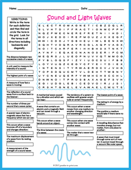 Sound and Light Waves Word Search Puzzle