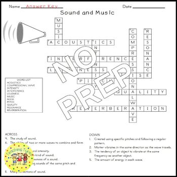 Sound and Music Science Crossword Puzzle Coloring Worksheet Middle School