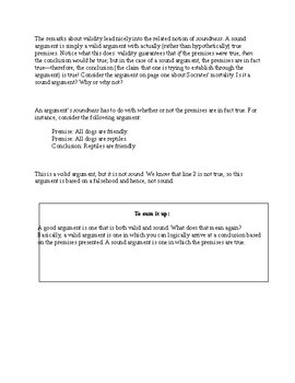 Sound and Valid Arguments, Logic, Philosophy Intro, Handout and Worksheet