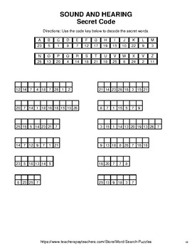 Sound and hearing - Word Search, Word Scramble,  Secret Code,  Crack the Code