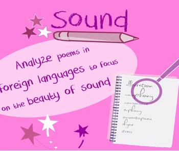 Sound in poetry lesson-isolate artful sounds using foreign languages