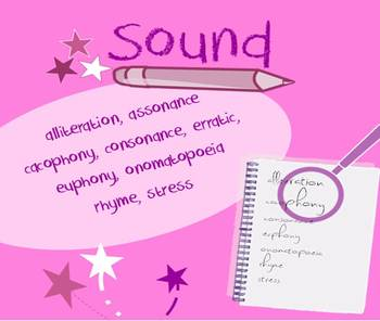 Sound in poetry packet - vocabulary list & poetry collection