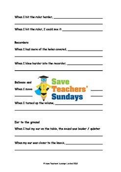 Sound mini-investigations Lesson plan, Writing frame and Instructions
