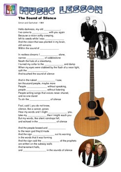 Sound of Silence Song Worksheet