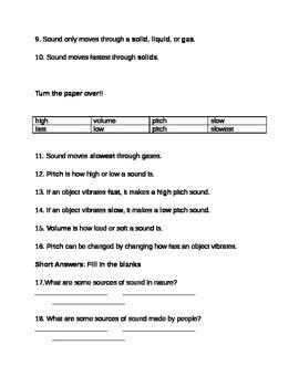 Sound: pitch, vibrations, produce, test 4th grade science