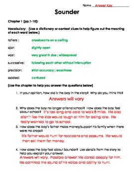 Sounder Chapter Vocabulary and Questions (Common Core)