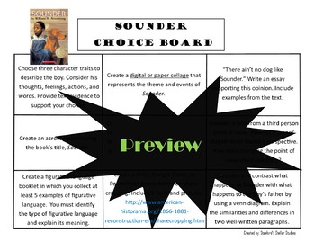 Sounder Choice Board Novel Study Activities menu Book Project Tic Tac Toe