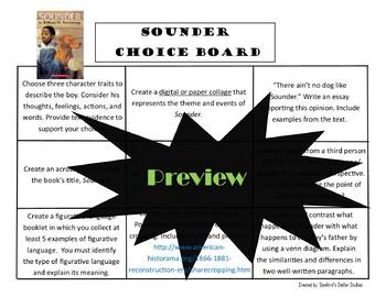 Sounder Choice Board Novel Study Activities menu Book Project Tic Tac Toe