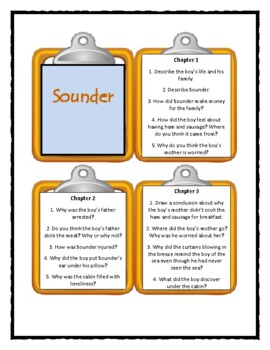 SOUNDER by William H. Armstrong  - Discussion Cards