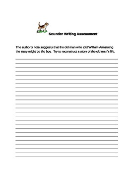Sounder Vocabulary Sheet and Writing Prompt