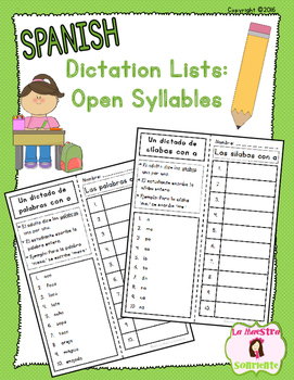 Sounding Out Words: Open Syllable and Word Dictation Lists (Spanish)