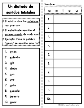Sounding Out Words: Initial & Final Sound Dictation Lists (Spanish)
