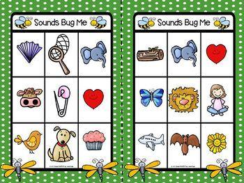 Sounds Bug Me:  FREEBIE LOW PREP Matching Beginning Sounds Bingo