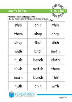 Sounds Good Reading - Stage 3 Activity (Sound Boxes)