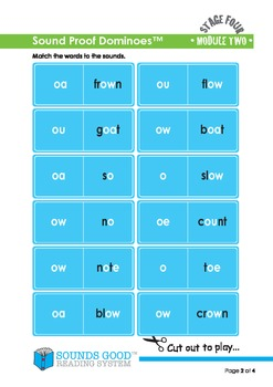 Sounds Good Reading - Stage 4 Activity - Module 2 'ow' (Sound Proof Dominoes)