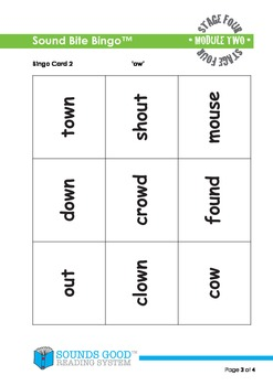 Sounds Good Reading - Stage 4 Activity - Module 2 'ow' (Sound Bite Bingo)