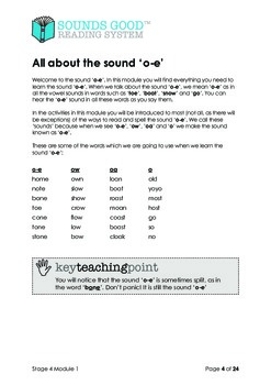 Sounds Good Reading - Stage 4 (Module 1 of 10) 'oe'