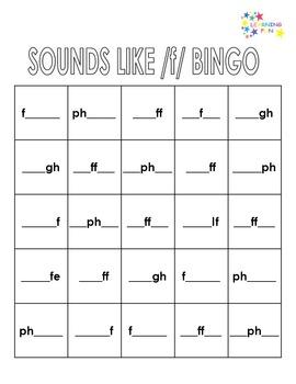Sounds Like /f/ Bingo - f, fe, ff, gh, lf, ph