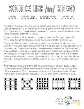 Sounds Like /m/ Bingo - m, mb, mm, mn.