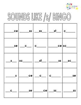 Sounds Like /s/ Bingo