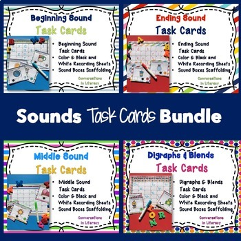 Beginning, Middle, and End Sounds Task Cards Bundle