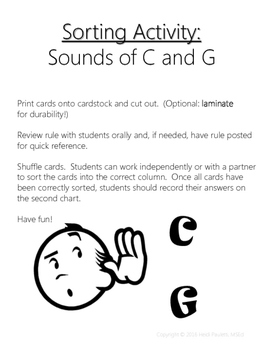 Sounds of C & G Sorting Activity