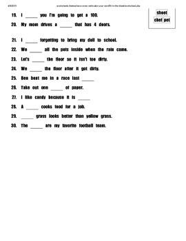 Sounds of Ee Cloze Sentences Work Sheet (I-Station Series)