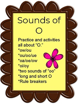 Vowel Sounds of O - Word Work