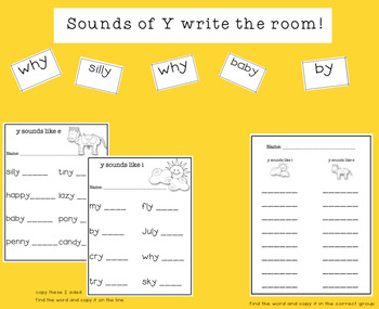 Sounds of Y Phonics SmartBoard Lesson for Primary Grades