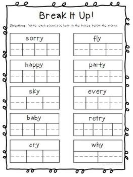 Sounds of Y (Long I & E) Phonics Worksheets (No Prep)