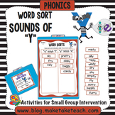Sounds of Y Word Sort - File Folder Word Sorts
