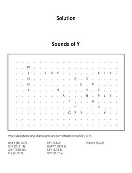 Sounds of Y Worksheet: Color-in Word Search