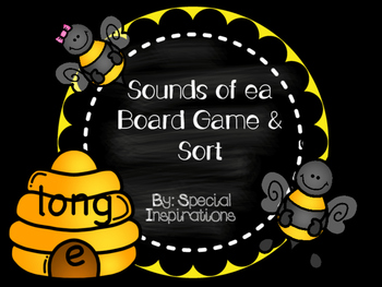 Sounds of ea Board Game/Sort Literacy Center (Beehive Theme)