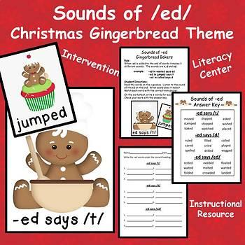 Phonics Sounds of -ed - Christmas Gingerbread Theme