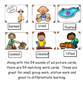 Sounds of ed ~ Pocket Chart Sort with Matching Word Cards