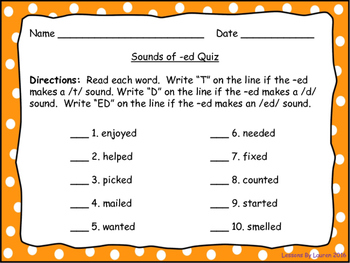 Sounds of -ed Sorts, Quiz, and Poster