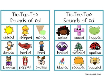 Sounds of ed Suffixes Game- Tic-Tac-Toe