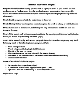 Soundtrack Project - A Great End-of-Novel/Play Assessment