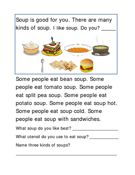Soup Following Directions Comprehension Emergent Reader Cr